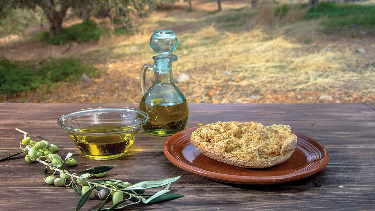 Famous Cretan food, Mediterranean diet, healthy ingredients, Wine tasting Crete